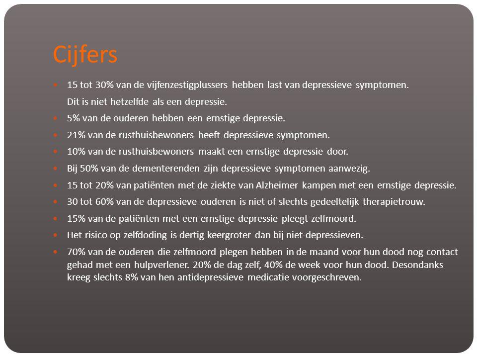 Cijfers  15 tot 30% van de vijfenzestigplussers hebben last van depressieve symptomen. Dit is niet hetzelfde als een depressie.  5% van de ouderen h