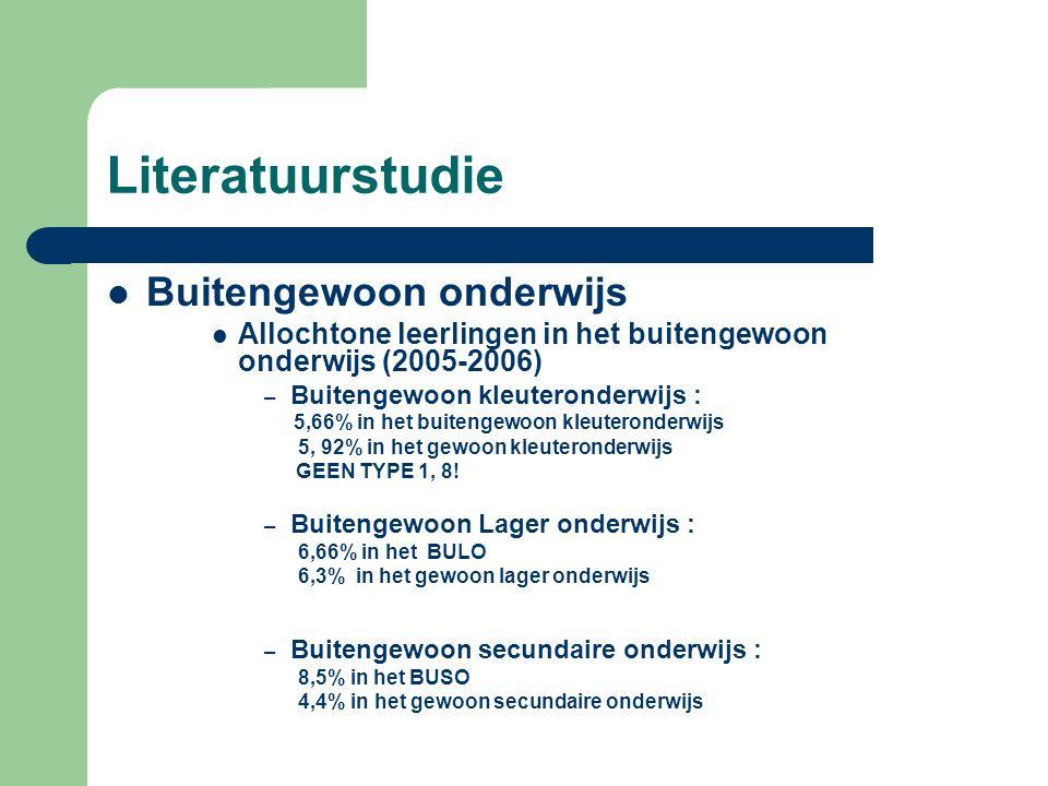 Literatuurstudie  Buitengewoon onderwijs  Allochtone leerlingen in het buitengewoon onderwijs (2005-2006) – Buitengewoon kleuteronderwijs : 5,66% in het buitengewoon kleuteronderwijs 5, 92% in het gewoon kleuteronderwijs GEEN TYPE 1, 8.