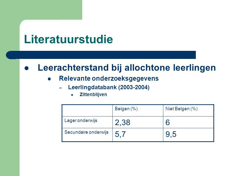 Literatuurstudie  Leerachterstand bij allochtone leerlingen  Relevante onderzoeksgegevens – Leerlingdatabank (2003-2004)  Zittenblijven Belgen (%)Niet Belgen (%) Lager onderwijs 2,386 Secundaire onderwijs 5,79,5