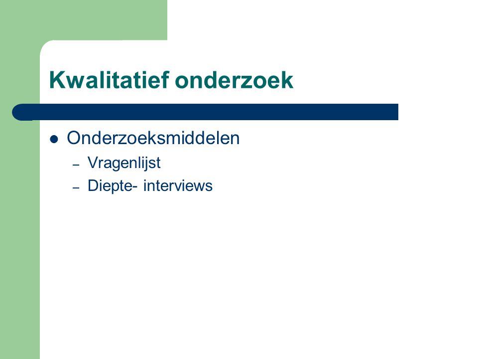 Kwalitatief onderzoek  Onderzoeksmiddelen – Vragenlijst – Diepte- interviews