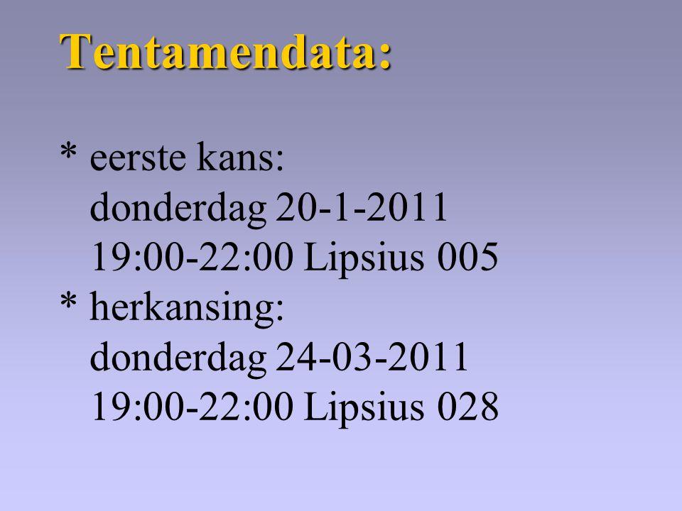 Tentamendata: Tentamendata: * eerste kans: donderdag 20-1-2011 19:00-22:00 Lipsius 005 * herkansing: donderdag 24-03-2011 19:00-22:00 Lipsius 028