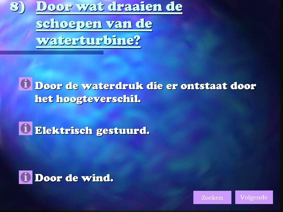 8)Door wat draaien de schoepen van de waterturbine.