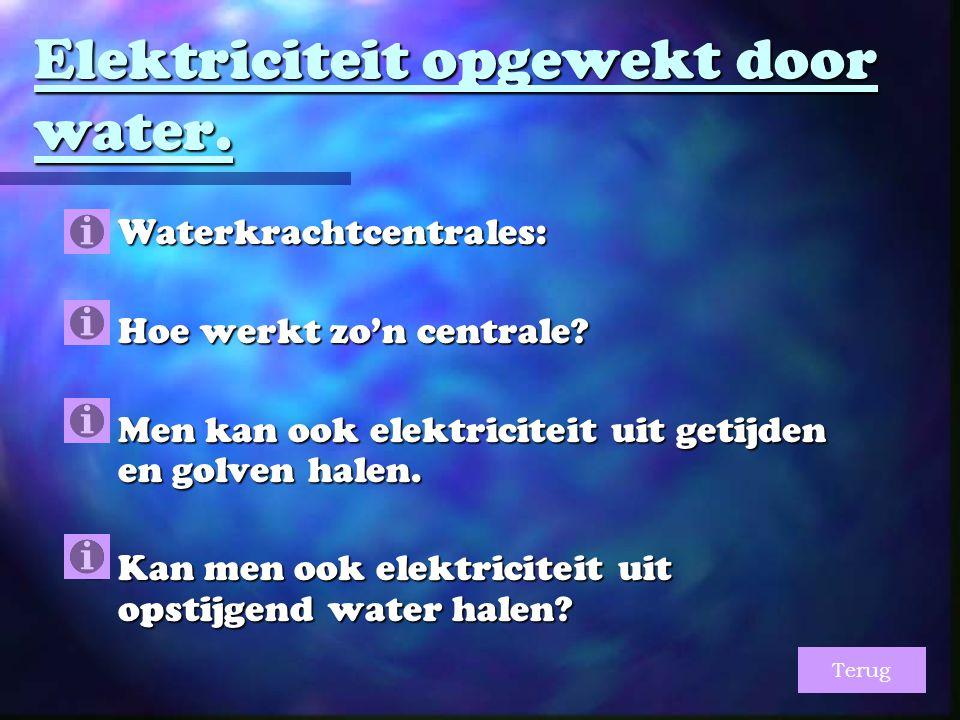 Elektriciteit opgewekt door water. Waterkrachtcentrales:  Hoe werkt zo'n centrale.