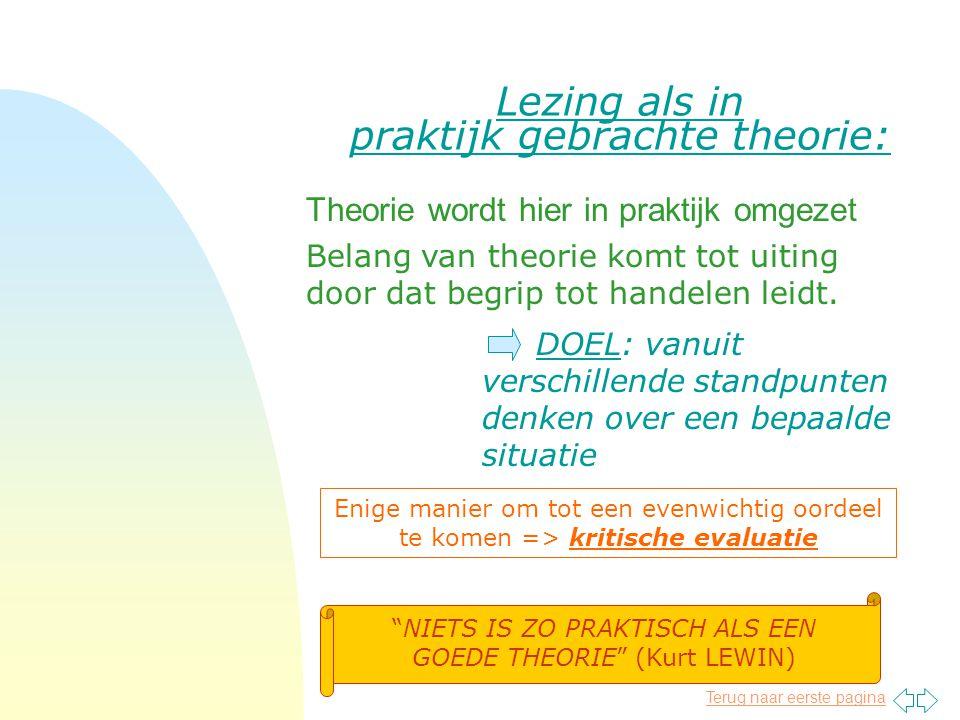 Terug naar eerste pagina Lezing als in praktijk gebrachte theorie: Theorie wordt hier in praktijk omgezet DOEL: vanuit verschillende standpunten denken over een bepaalde situatie Belang van theorie komt tot uiting door dat begrip tot handelen leidt.