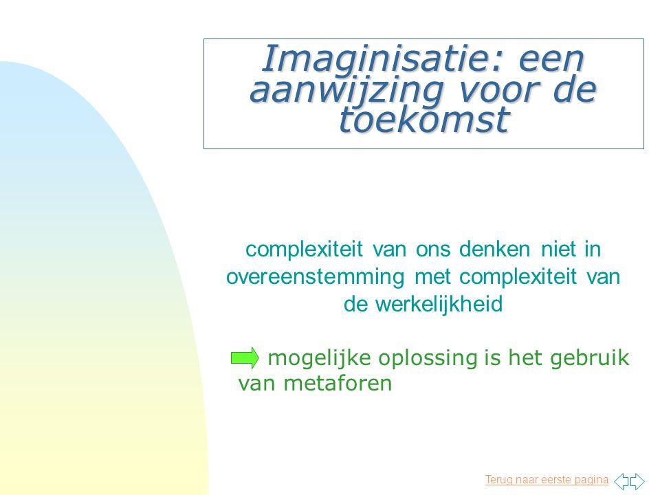Terug naar eerste pagina Imaginisatie: een aanwijzing voor de toekomst complexiteit van ons denken niet in overeenstemming met complexiteit van de werkelijkheid mogelijke oplossing is het gebruik van metaforen