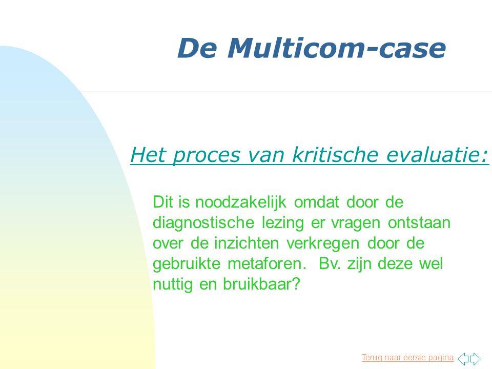 Terug naar eerste pagina De Multicom-case Het proces van kritische evaluatie: Dit is noodzakelijk omdat door de diagnostische lezing er vragen ontstaan over de inzichten verkregen door de gebruikte metaforen.
