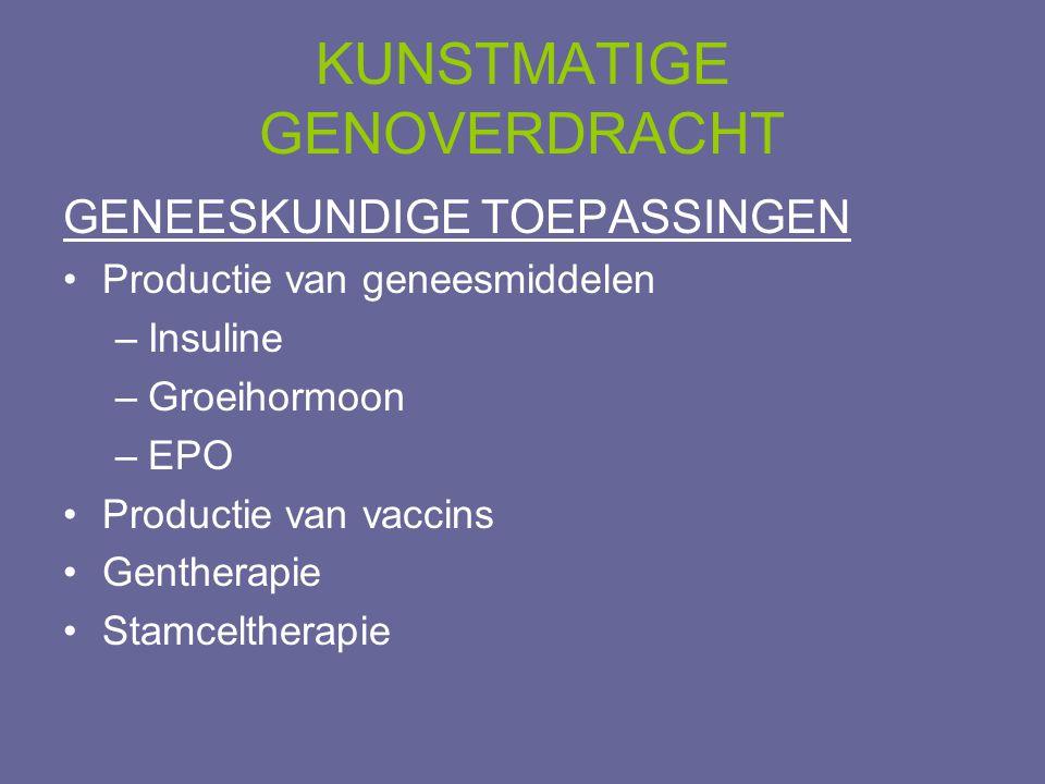 KUNSTMATIGE GENOVERDRACHT GENEESKUNDIGE TOEPASSINGEN •Productie van geneesmiddelen –Insuline –Groeihormoon –EPO •Productie van vaccins •Gentherapie •S