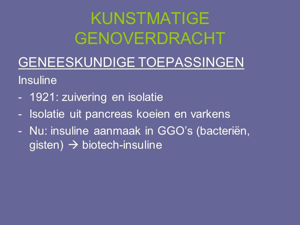 KUNSTMATIGE GENOVERDRACHT GENEESKUNDIGE TOEPASSINGEN Insuline -1921: zuivering en isolatie -Isolatie uit pancreas koeien en varkens -Nu: insuline aanm