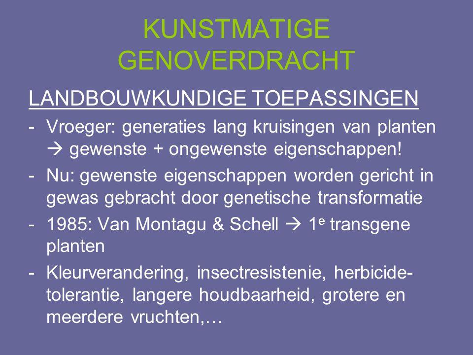 LANDBOUWKUNDIGE TOEPASSINGEN -Vroeger: generaties lang kruisingen van planten  gewenste + ongewenste eigenschappen! -Nu: gewenste eigenschappen worde