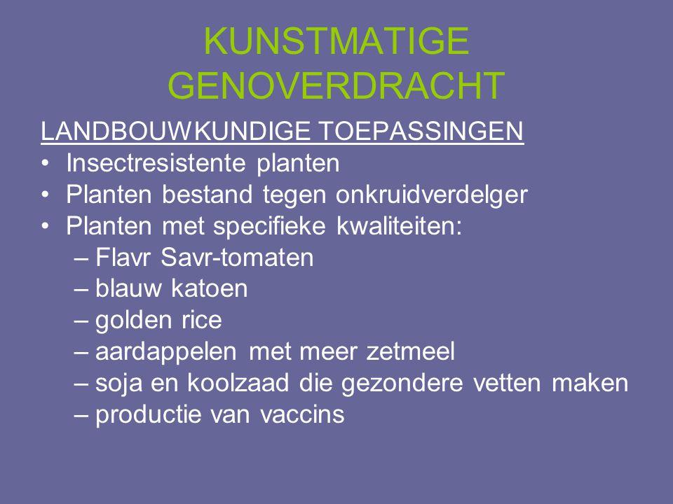 KUNSTMATIGE GENOVERDRACHT LANDBOUWKUNDIGE TOEPASSINGEN •Insectresistente planten •Planten bestand tegen onkruidverdelger •Planten met specifieke kwali