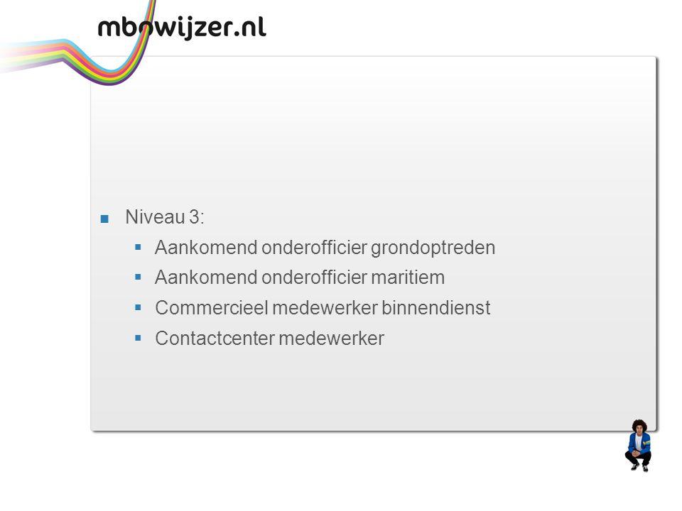  Niveau 3:  Aankomend onderofficier grondoptreden  Aankomend onderofficier maritiem  Commercieel medewerker binnendienst  Contactcenter medewerke