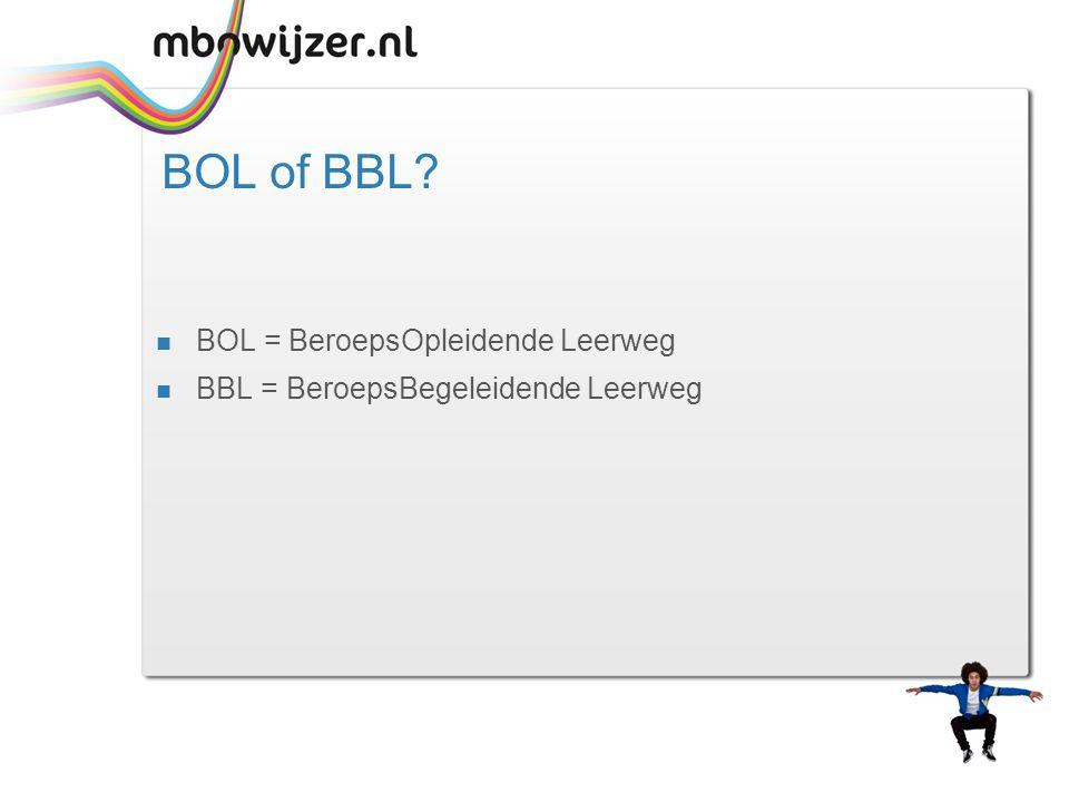 BOL of BBL?  BOL = BeroepsOpleidende Leerweg  BBL = BeroepsBegeleidende Leerweg