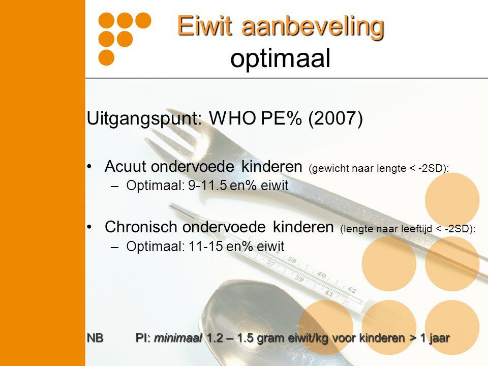 Eiwit aanbeveling optimaal Uitgangspunt: WHO PE% (2007) •Acuut ondervoede kinderen (gewicht naar lengte < -2SD): –Optimaal: 9-11.5 en% eiwit •Chronisc