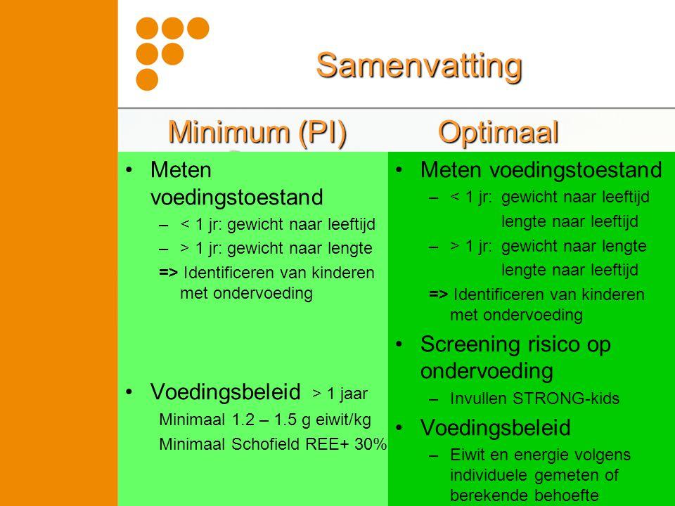 Samenvatting •Meten voedingstoestand –< 1 jr: gewicht naar leeftijd –> 1 jr: gewicht naar lengte => Identificeren van kinderen met ondervoeding •Voedi