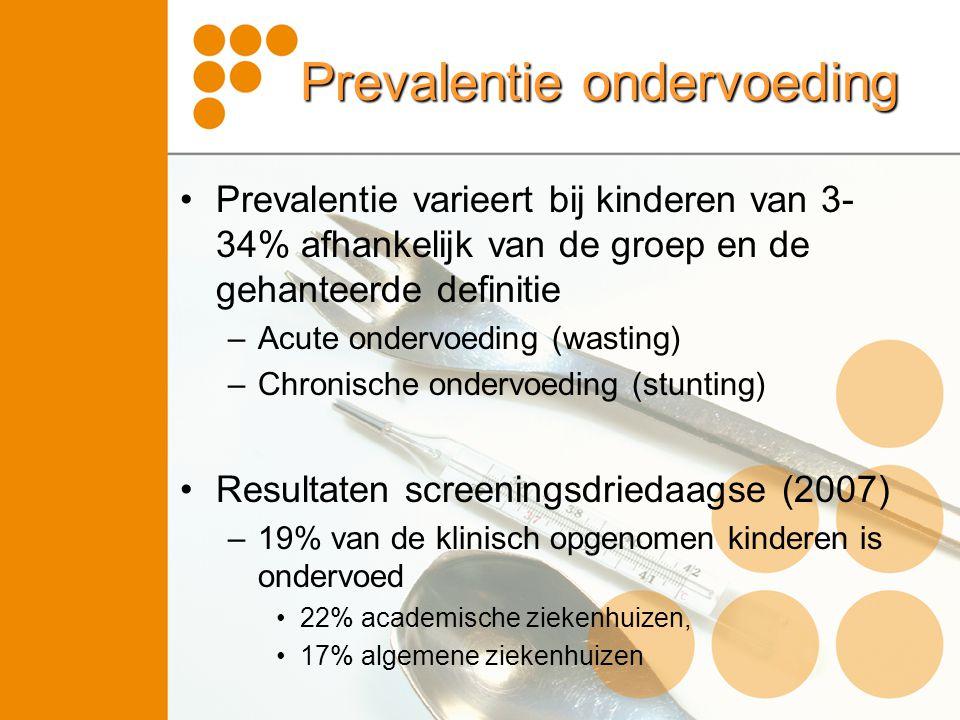 Prevalentie ondervoeding •Prevalentie varieert bij kinderen van 3- 34% afhankelijk van de groep en de gehanteerde definitie –Acute ondervoeding (wasti