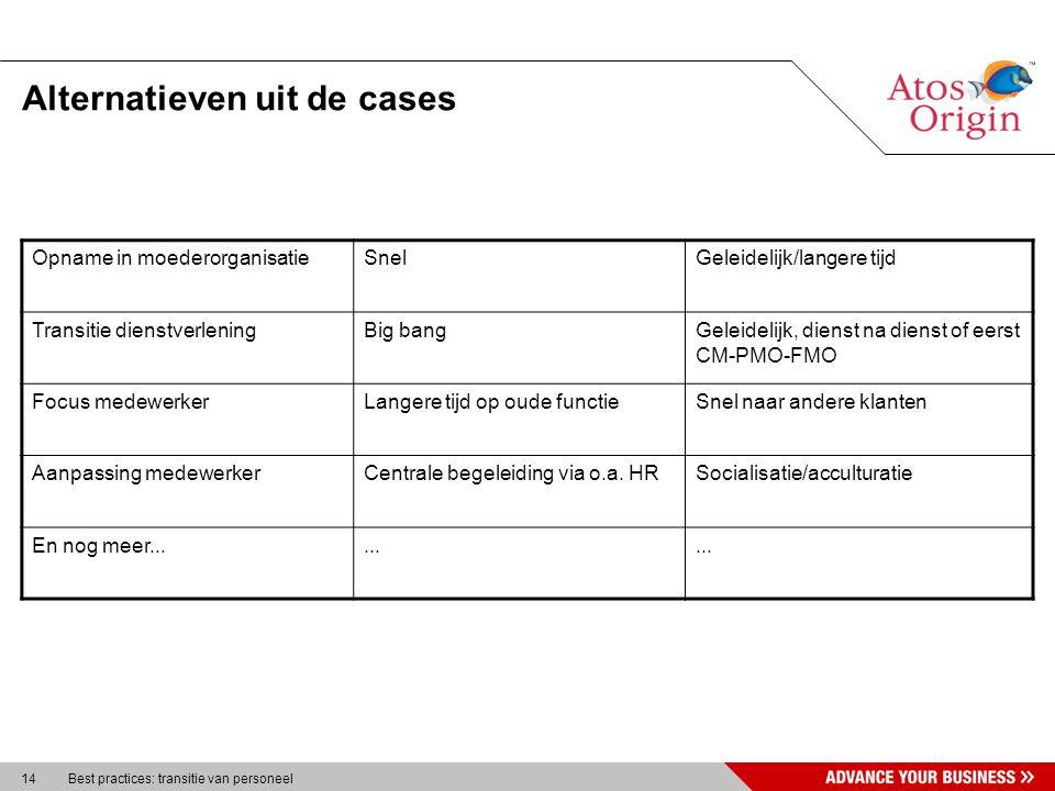 14 Best practices: transitie van personeel Alternatieven uit de cases Opname in moederorganisatieSnelGeleidelijk/langere tijd Transitie dienstverlenin
