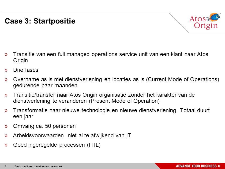 9 Best practices: transitie van personeel Case 3: Startpositie »Transitie van een full managed operations service unit van een klant naar Atos Origin