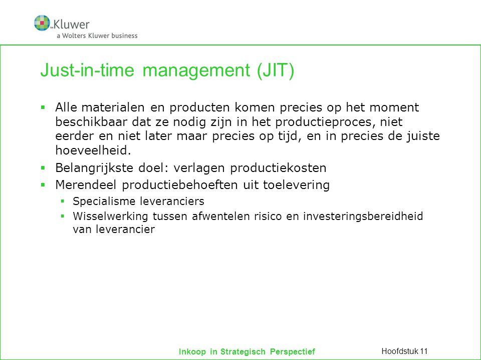 Inkoop in Strategisch Perspectief Just-in-time management (JIT)  Alle materialen en producten komen precies op het moment beschikbaar dat ze nodig zi