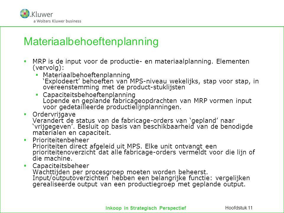 Inkoop in Strategisch Perspectief Materiaalbehoeftenplanning  MRP is de input voor de productie- en materiaalplanning. Elementen (vervolg):  Materia