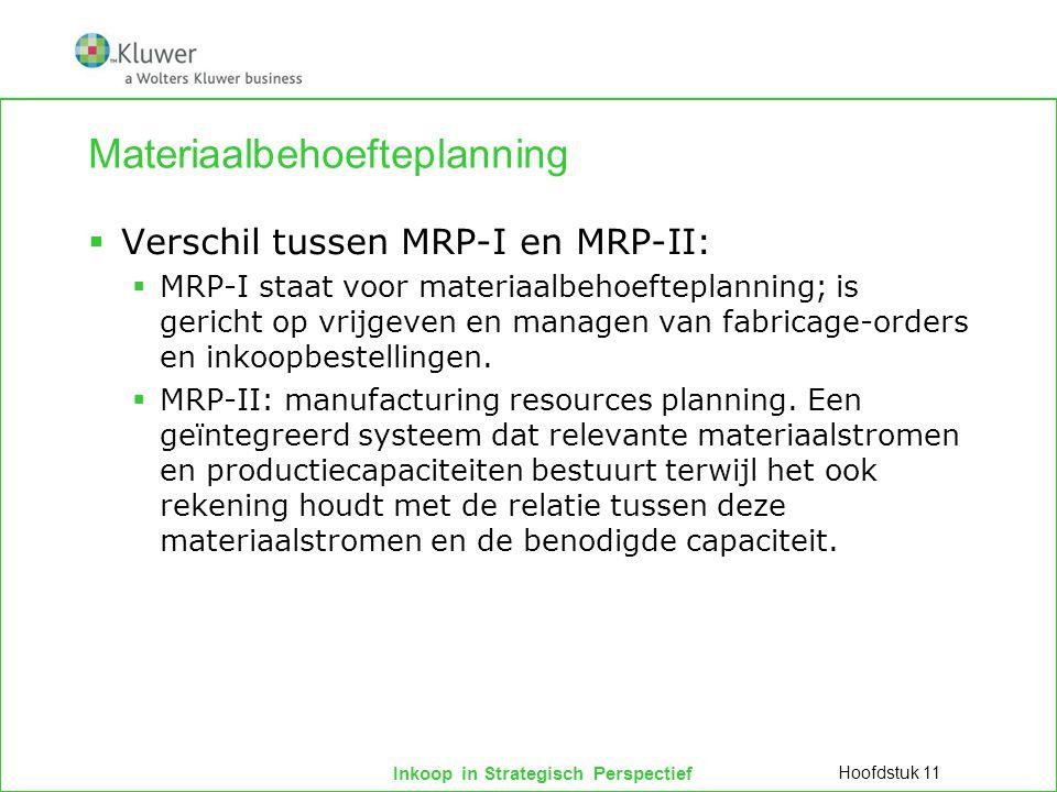 Inkoop in Strategisch Perspectief Materiaalbehoefteplanning  Verschil tussen MRP-I en MRP-II:  MRP-I staat voor materiaalbehoefteplanning; is gerich