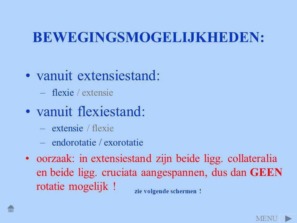 BEWEGINGSMOGELIJKHEDEN: •vanuit extensiestand: – flexie / extensie •vanuit flexiestand: – extensie / flexie – endorotatie / exorotatie •oorzaak: in ex