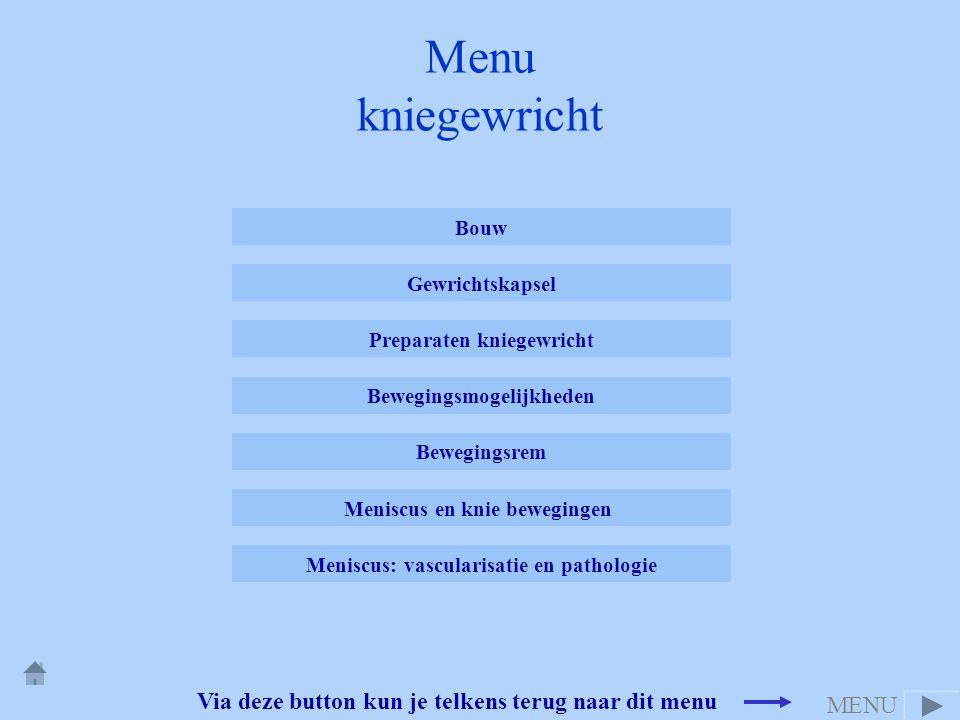 Via deze button kun je telkens terug naar dit menu Menu kniegewricht Bouw Gewrichtskapsel Preparaten kniegewricht Bewegingsrem Bewegingsmogelijkheden