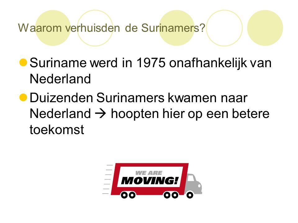 Waarom verhuisden de Surinamers?  Suriname werd in 1975 onafhankelijk van Nederland  Duizenden Surinamers kwamen naar Nederland  hoopten hier op ee