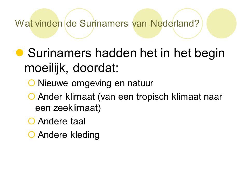 Wat vinden de Surinamers van Nederland?  Surinamers hadden het in het begin moeilijk, doordat:  Nieuwe omgeving en natuur  Ander klimaat (van een t