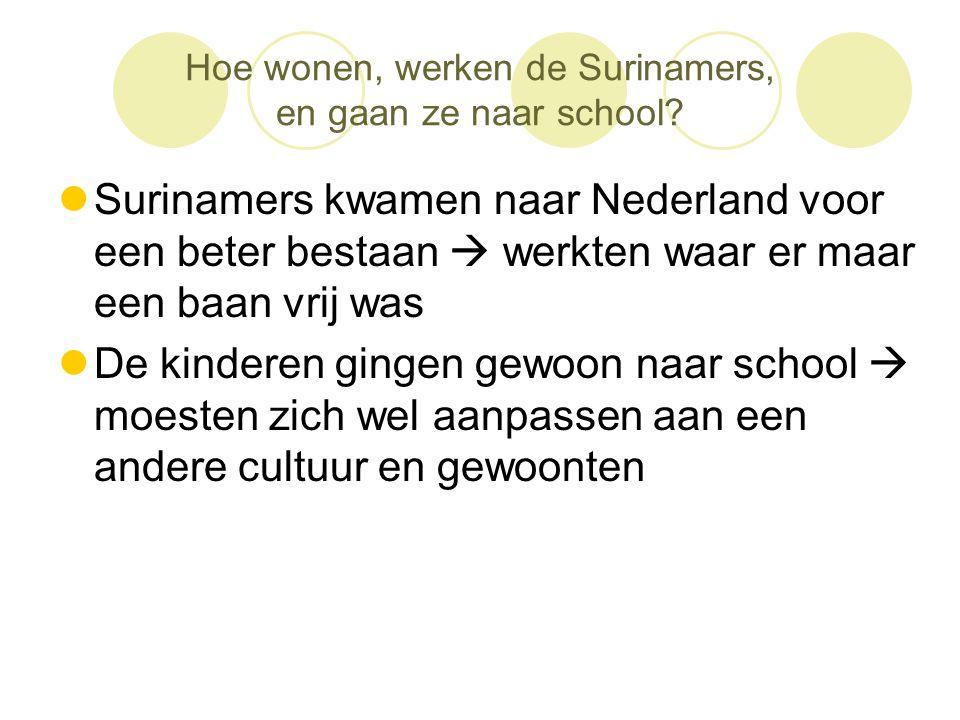 Hoe wonen, werken de Surinamers, en gaan ze naar school?  Surinamers kwamen naar Nederland voor een beter bestaan  werkten waar er maar een baan vri