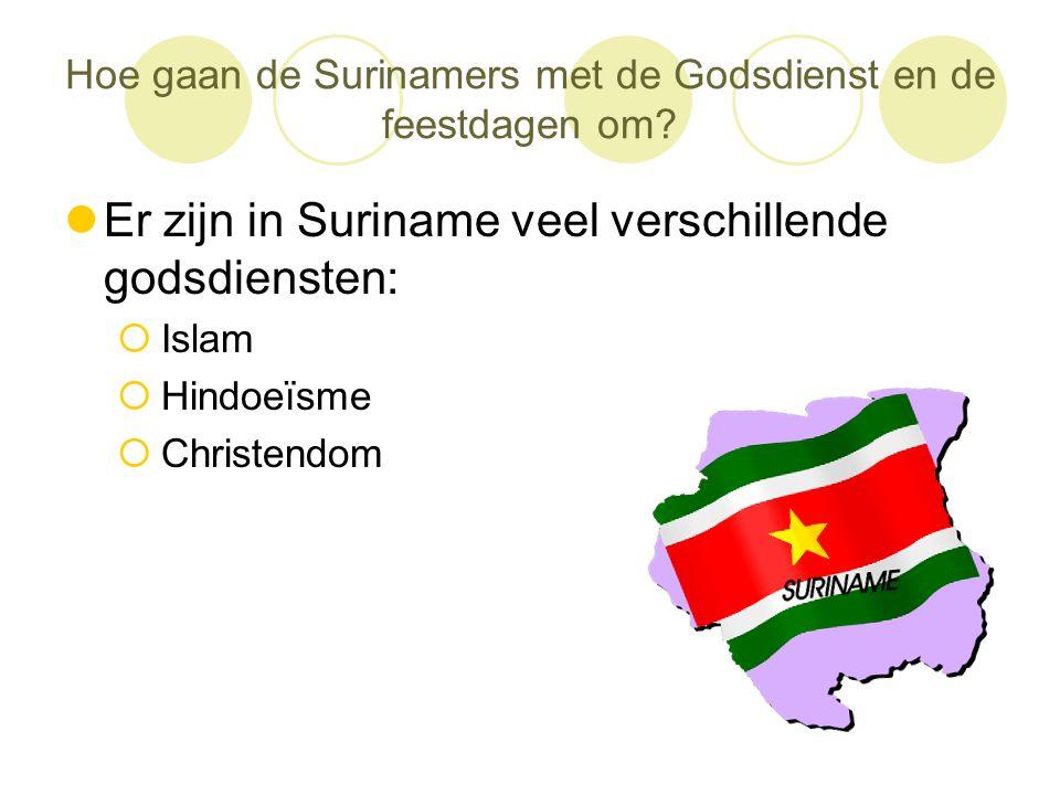 Hoe gaan de Surinamers met de Godsdienst en de feestdagen om?  Er zijn in Suriname veel verschillende godsdiensten:  Islam  Hindoeïsme  Christendo