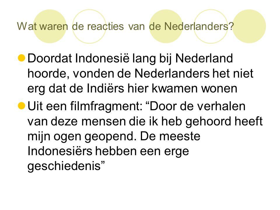 Wat waren de reacties van de Nederlanders?  Doordat Indonesië lang bij Nederland hoorde, vonden de Nederlanders het niet erg dat de Indiërs hier kwam