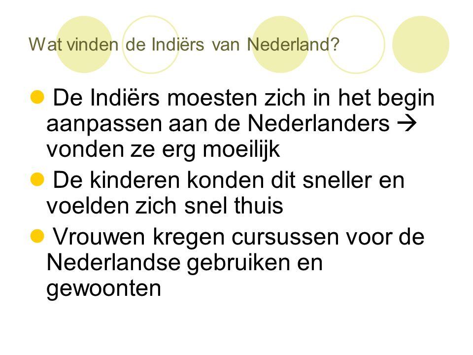 Wat vinden de Indiërs van Nederland?  De Indiërs moesten zich in het begin aanpassen aan de Nederlanders  vonden ze erg moeilijk  De kinderen konde