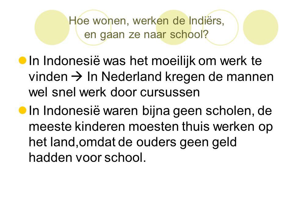 Hoe wonen, werken de Indiërs, en gaan ze naar school?  In Indonesië was het moeilijk om werk te vinden  In Nederland kregen de mannen wel snel werk