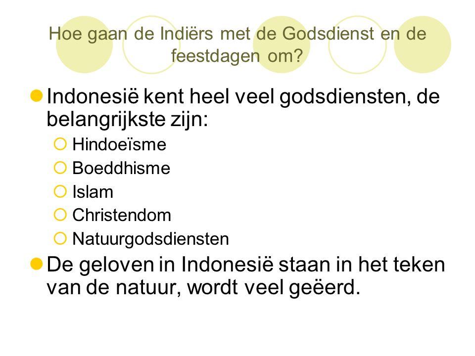 Hoe gaan de Indiërs met de Godsdienst en de feestdagen om?  Indonesië kent heel veel godsdiensten, de belangrijkste zijn:  Hindoeïsme  Boeddhisme 
