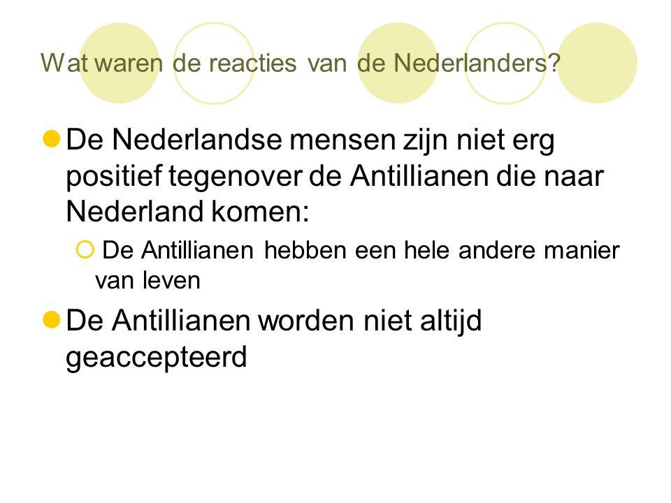 Wat waren de reacties van de Nederlanders?  De Nederlandse mensen zijn niet erg positief tegenover de Antillianen die naar Nederland komen:  De Anti