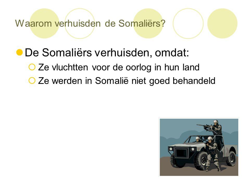 Waarom verhuisden de Somaliërs?  De Somaliërs verhuisden, omdat:  Ze vluchtten voor de oorlog in hun land  Ze werden in Somalië niet goed behandeld