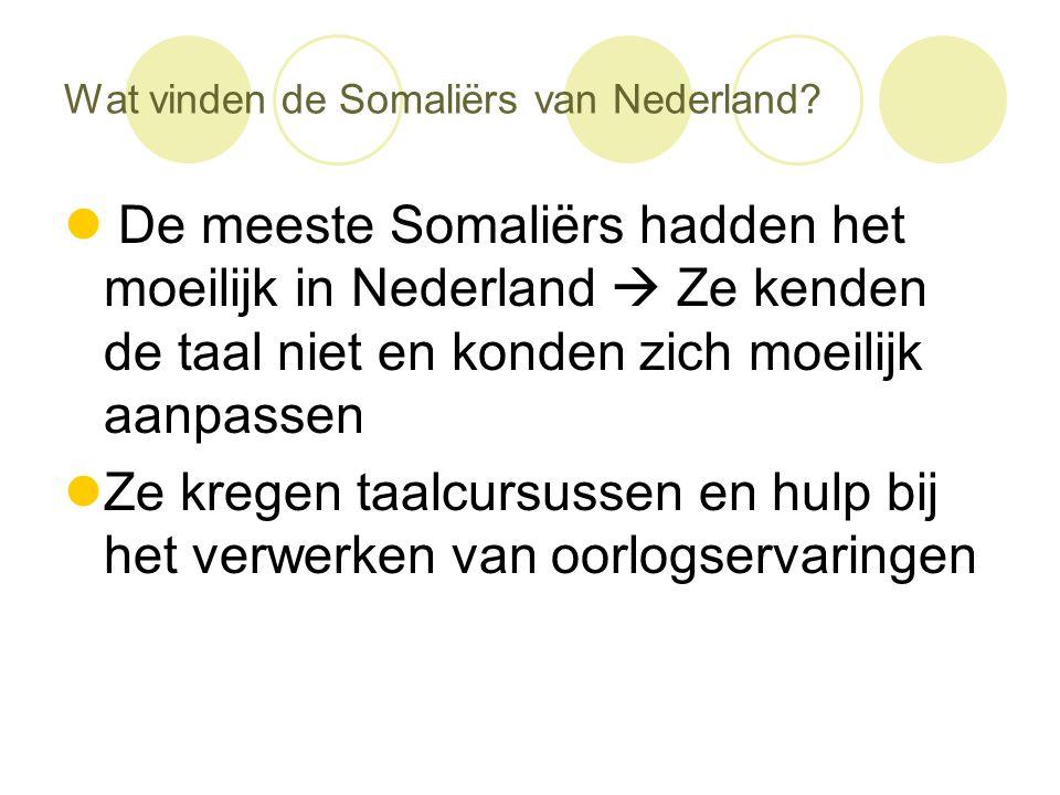 Wat vinden de Somaliërs van Nederland?  De meeste Somaliërs hadden het moeilijk in Nederland  Ze kenden de taal niet en konden zich moeilijk aanpass