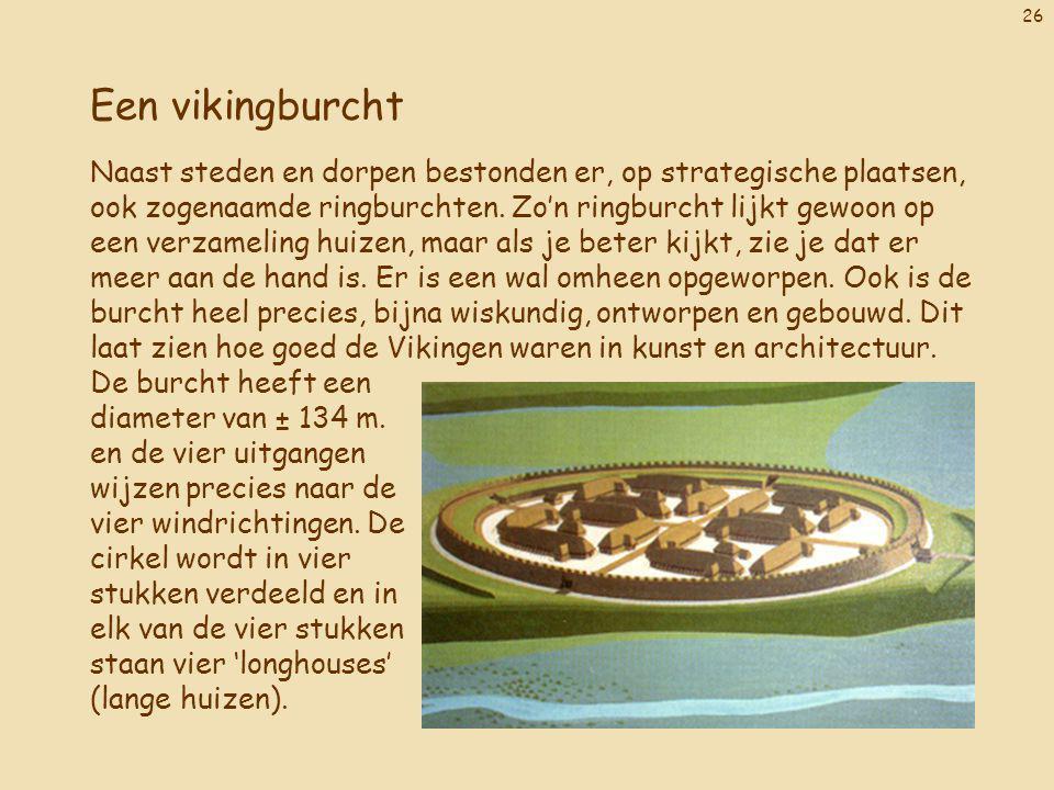 26 Een vikingburcht Naast steden en dorpen bestonden er, op strategische plaatsen, ook zogenaamde ringburchten. Zo'n ringburcht lijkt gewoon op een ve