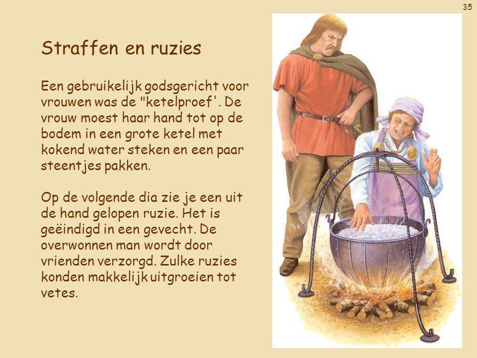 35 Straffen en ruzies Een gebruikelijk godsgericht voor vrouwen was de ketelproef .