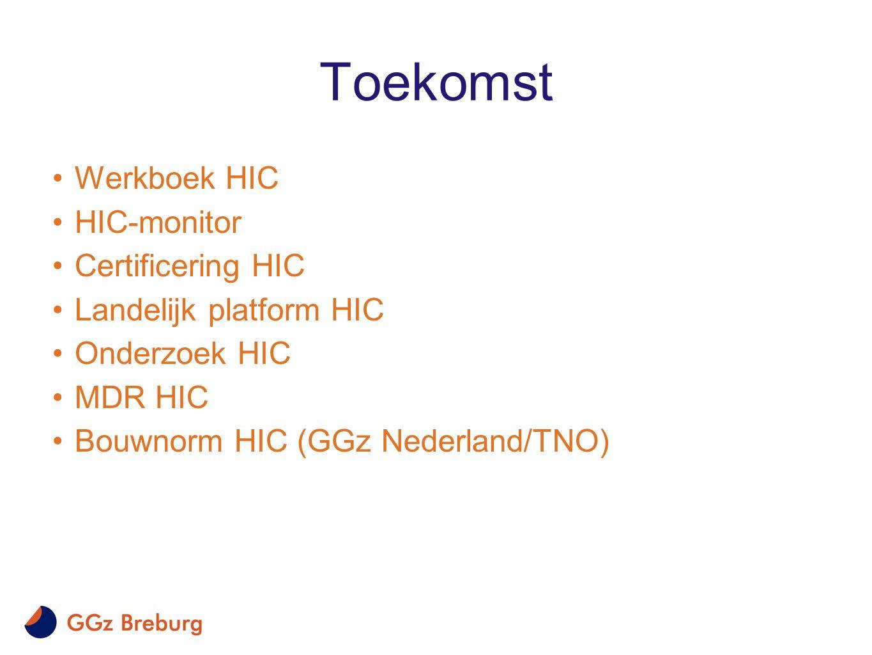 Toekomst •Werkboek HIC •HIC-monitor •Certificering HIC •Landelijk platform HIC •Onderzoek HIC •MDR HIC •Bouwnorm HIC (GGz Nederland/TNO)