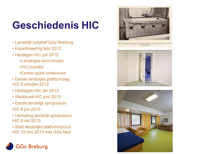 Geschiedenis HIC • Landelijk initiatief GGz Breburg • Expertmeeting febr 2012 • Heidagen HIC juli 2012 •Landelijke norm/model •HIC-monitor •Eerste opz