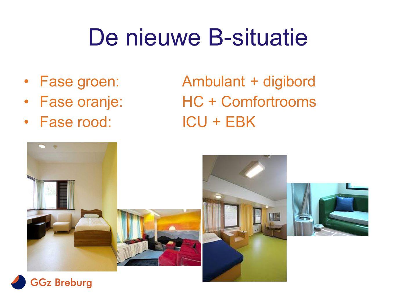 De nieuwe B-situatie •Fase groen:Ambulant + digibord •Fase oranje: HC + Comfortrooms •Fase rood: ICU + EBK