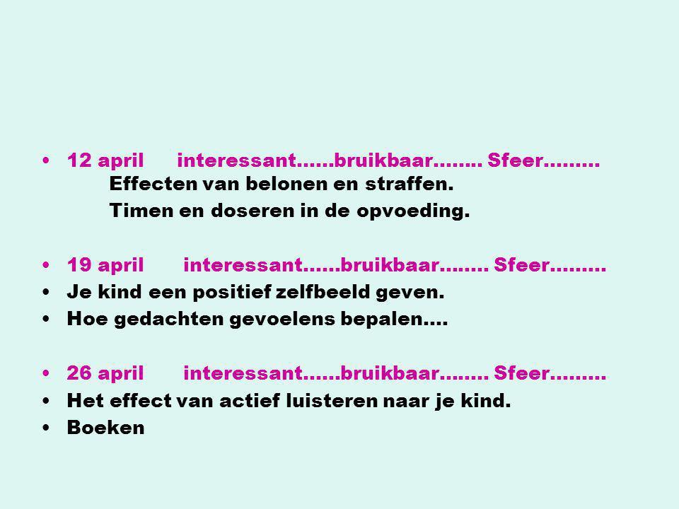 •12 aprilinteressant……bruikbaar…….. Sfeer……… Effecten van belonen en straffen. Timen en doseren in de opvoeding. •19 april interessant……bruikbaar……..