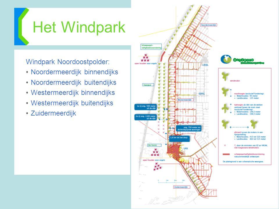 Het Windpark Windpark Noordoostpolder: •Noordermeerdijk binnendijks •Noordermeerdijk buitendijks •Westermeerdijk binnendijks •Westermeerdijk buitendij