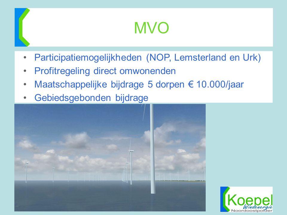 MVO •Participatiemogelijkheden (NOP, Lemsterland en Urk) •Profitregeling direct omwonenden •Maatschappelijke bijdrage 5 dorpen € 10.000/jaar •Gebiedsg