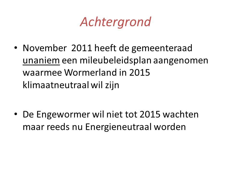 Achtergrond • November 2011 heeft de gemeenteraad unaniem een mileubeleidsplan aangenomen waarmee Wormerland in 2015 klimaatneutraal wil zijn • De Engewormer wil niet tot 2015 wachten maar reeds nu Energieneutraal worden