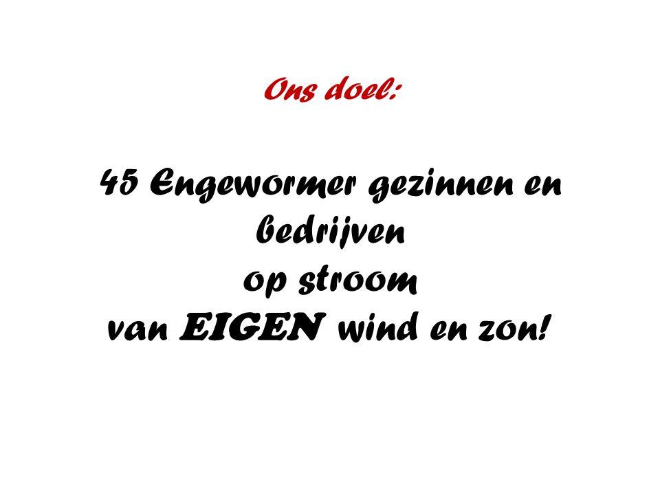 Ons doel: 45 Engewormer gezinnen en bedrijven op stroom van EIGEN wind en zon!