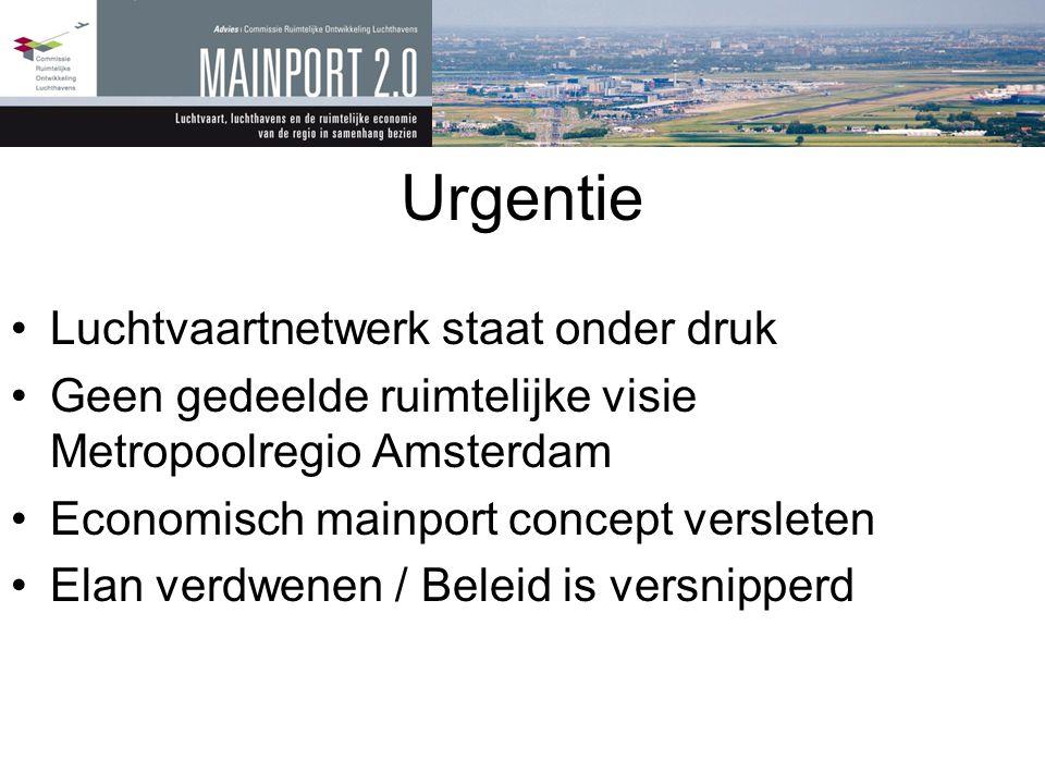 Urgentie •Luchtvaartnetwerk staat onder druk •Geen gedeelde ruimtelijke visie Metropoolregio Amsterdam •Economisch mainport concept versleten •Elan ve