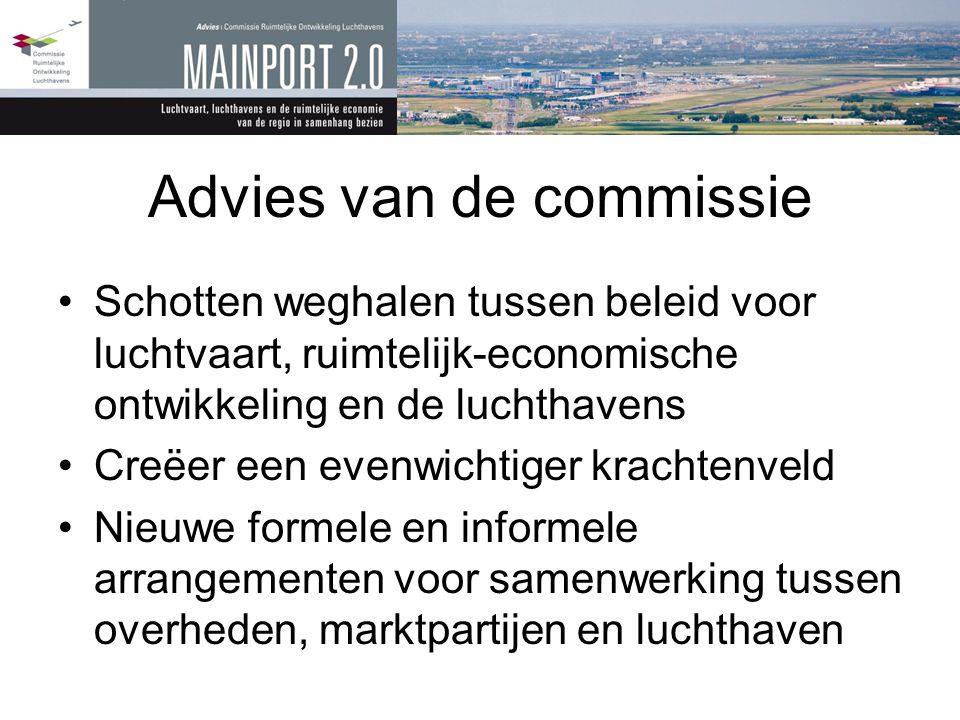 Advies van de commissie •Schotten weghalen tussen beleid voor luchtvaart, ruimtelijk-economische ontwikkeling en de luchthavens •Creëer een evenwichti