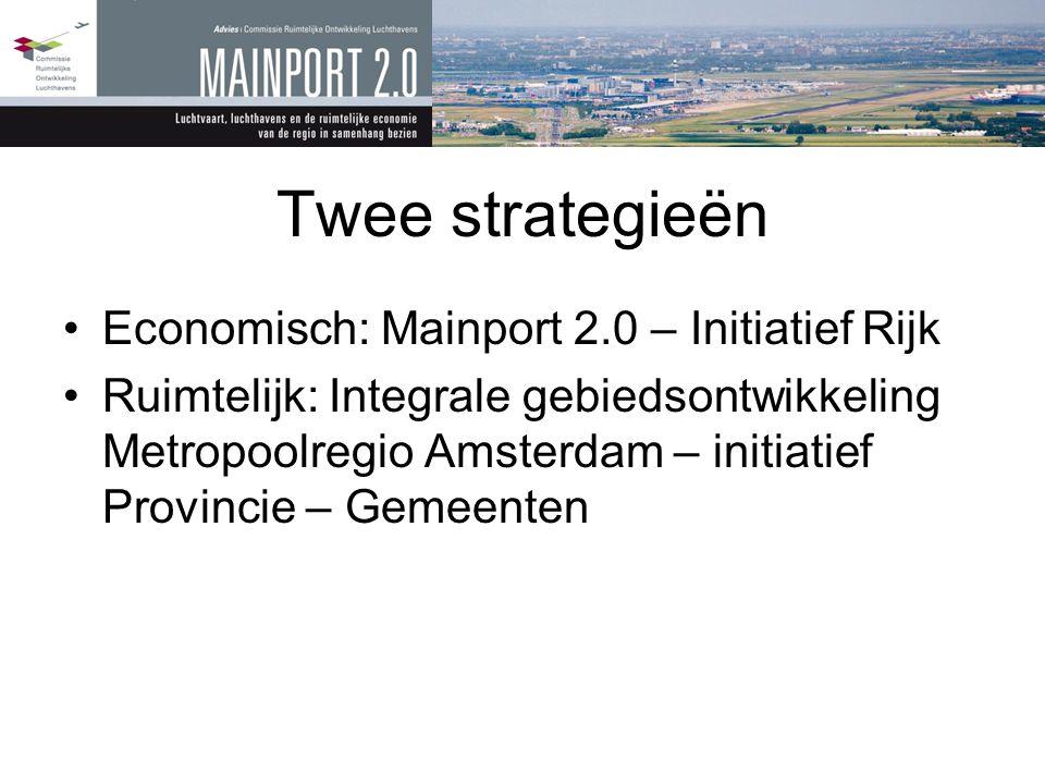 Twee strategieën •Economisch: Mainport 2.0 – Initiatief Rijk •Ruimtelijk: Integrale gebiedsontwikkeling Metropoolregio Amsterdam – initiatief Provinci